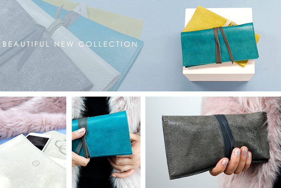Wholesale real leather and suede clutch bags from POM