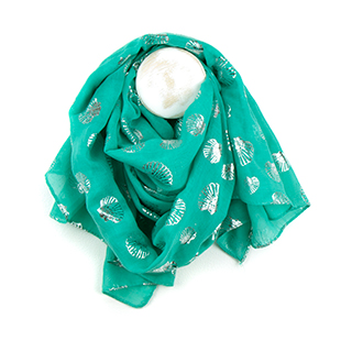 Pom wholesale aqua scarf with silver shell print