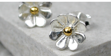 Sterling silver gold plated daisy jewellery