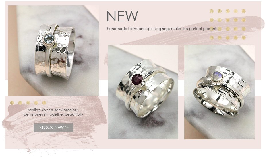 Wholesale sterling silver birthstone spinning rings from POM jewellery wholesale