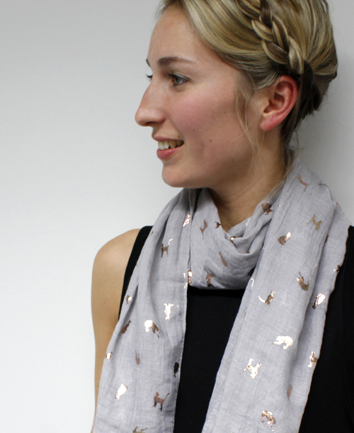 Grey scarf with metallic cat print from POM scarf wholesale