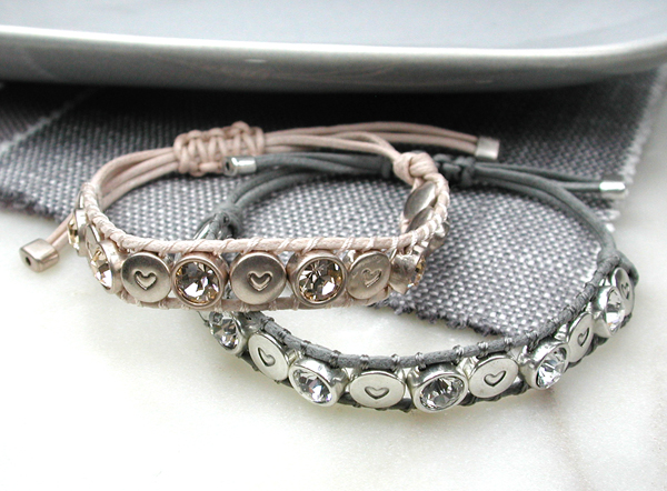 Crystal stud bracelets in pink and grey