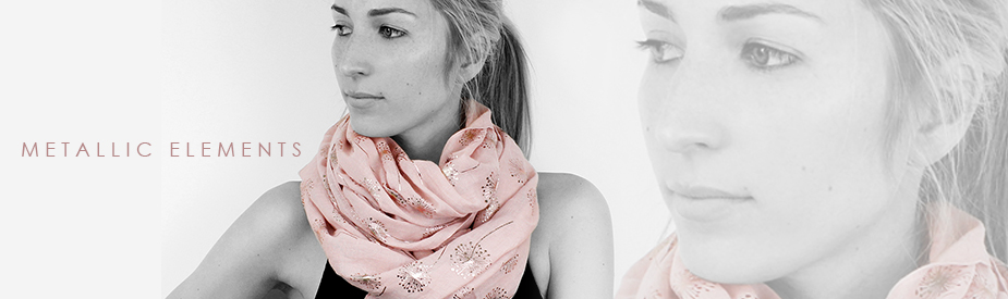 Metallic foil printed scarves from POM scarf wholesaler