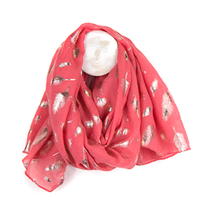 Pom wholesale coral scarf with feather print