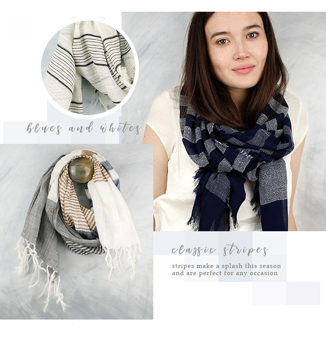 POM wholesale striped scarves