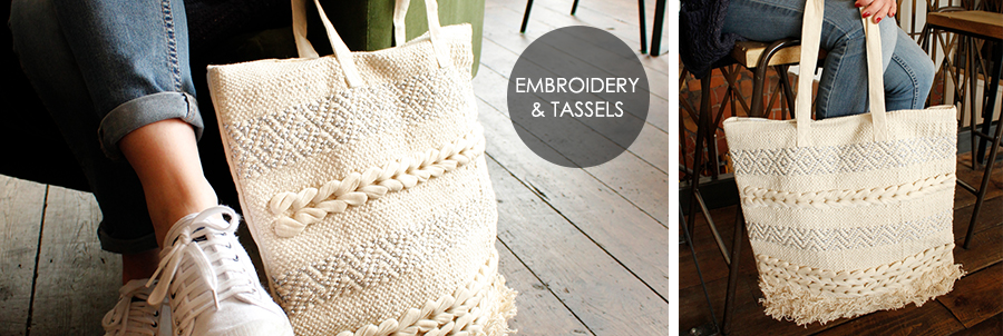 Wholesale fringed cotton tote bags from POM wholesale